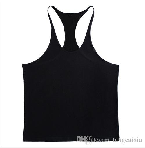 Wholesale Men Tank Top Solid Mens Muscle Sleeveless T Shirts Stringers Tee Fit Elastic Singlets Undershirt Cotton Tops Workout