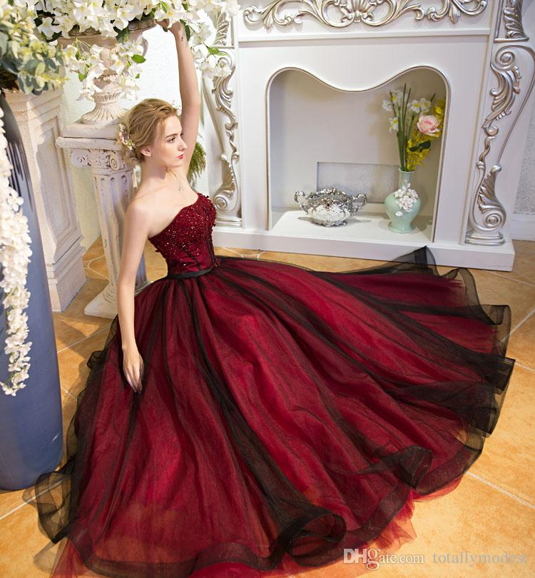 Non White Wedding Dresses: Discount Black And Red Gothic A Line Wedding Dresses