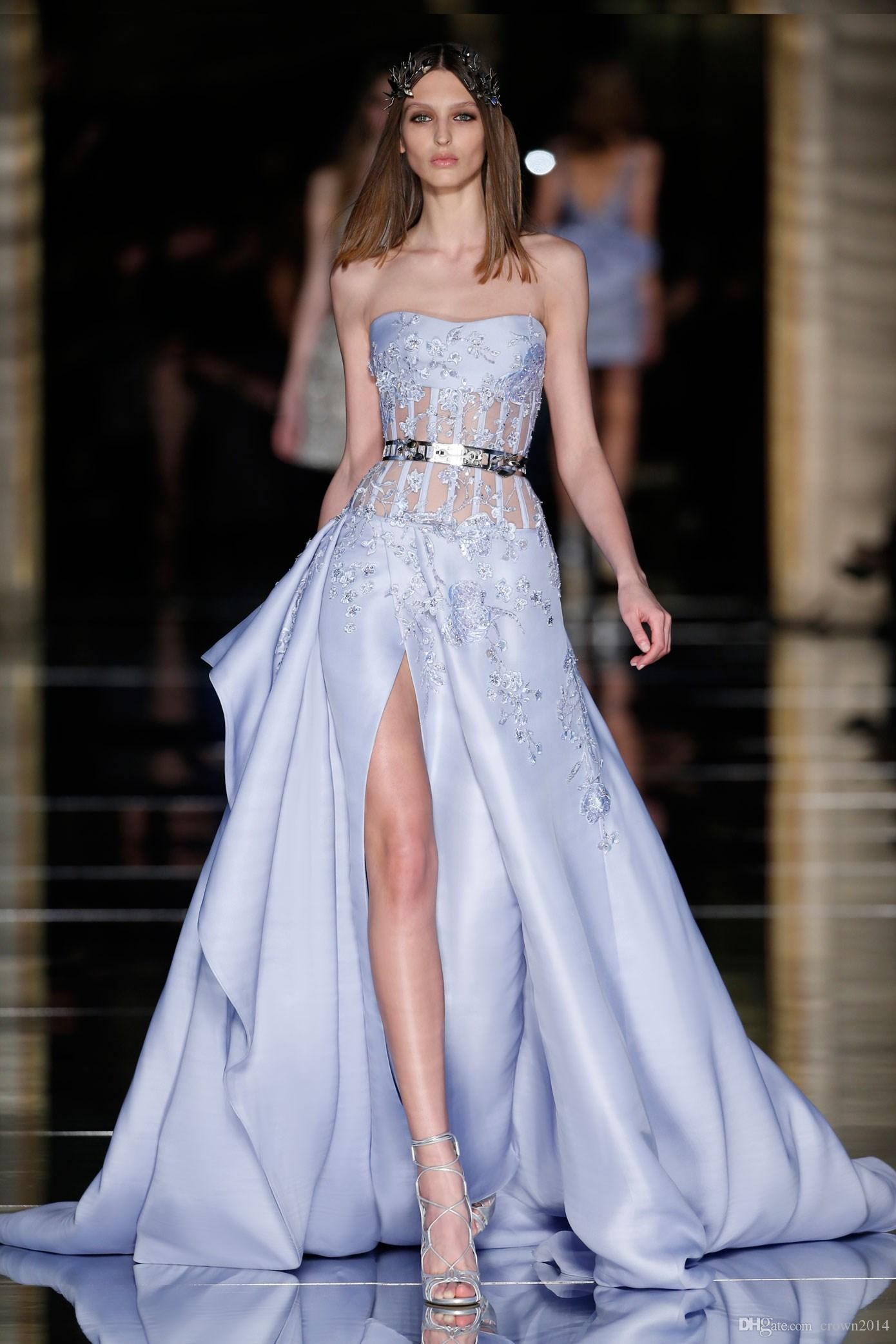 2017 lavender zuhair murad dresses long fashion lace applique 2017 lavender zuhair murad dresses long fashion lace applique beaded satin strapless high slit party evening gowns couture custom made china maternity ombrellifo Gallery
