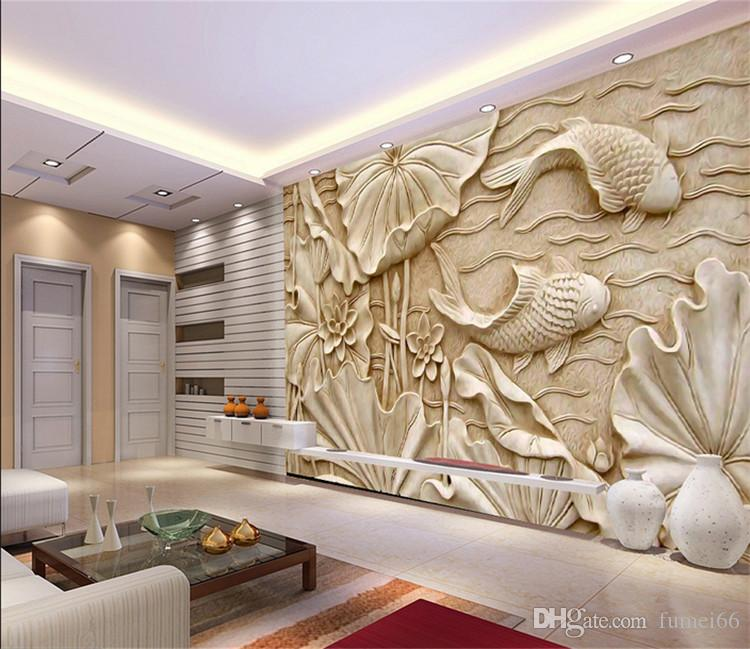 Fake Wood Carvings Relief Paintings New Classical Chinese Large Fresco 3D Stereo Wallpapers Living Room TV Background Wall Lotus Fish