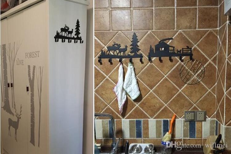Creative Original Forest Reindeer Design Robe Hooks Coat/Hat/Bag Cartoon Wall Hanger Bathroom Hardware Home Improvement Decor