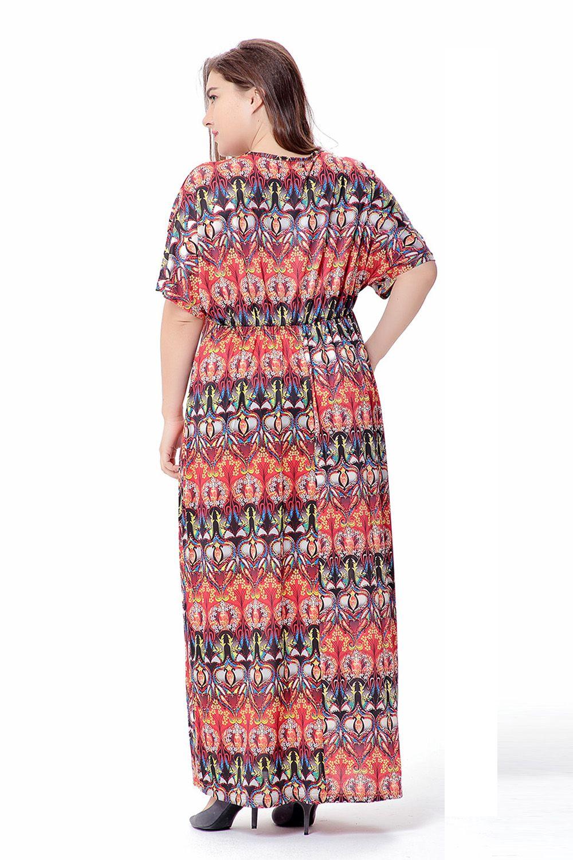 Vintage Party Dresses Oversized Deep V neck Long Dress for Women Bohemian Style Summer dress Wholesale Plus Size 4XL 6XL SQ-011