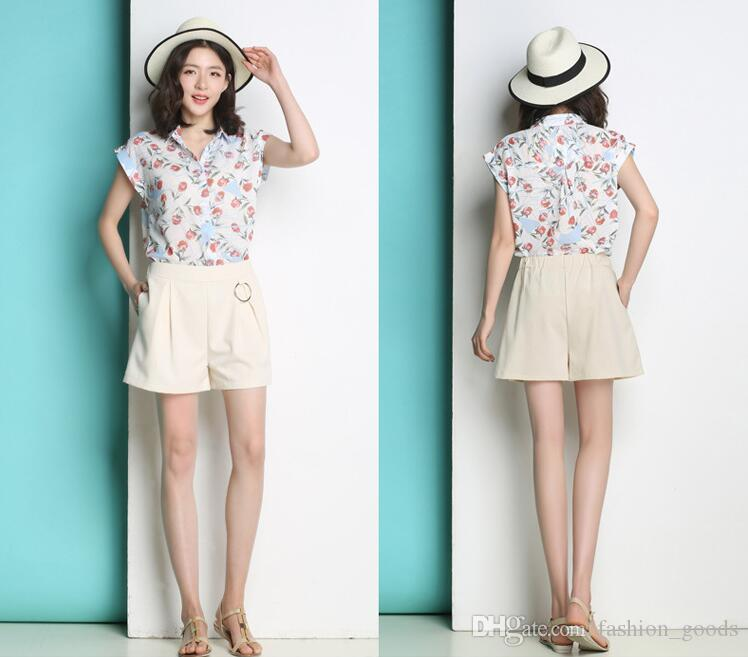 Brand new Summer new wild color female cotton and linen casual large school students high waist wide leg hot pants WS010 Women's Shorts