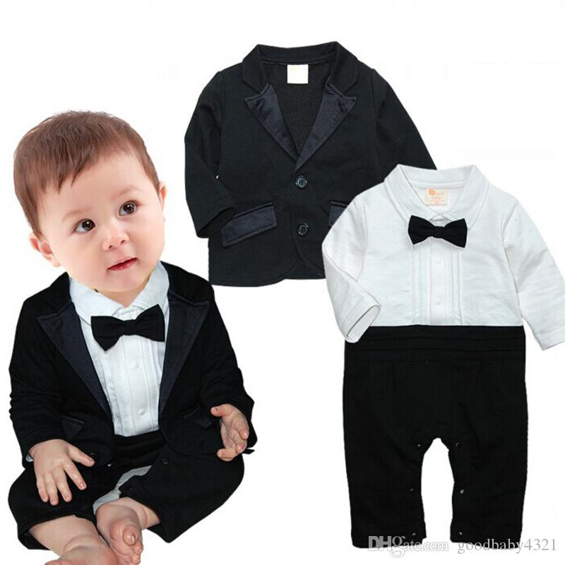 infant baby boys formal bow tie rompers suits full sleeves jumpsuit
