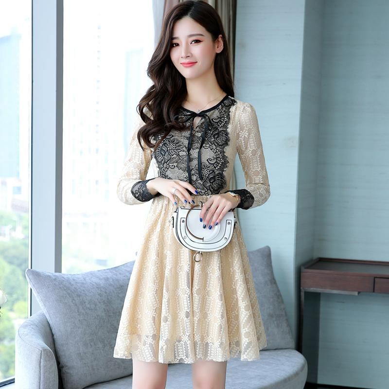 1e04a04d6ae 2017 Autumn New Women Lace Dresses Korean Fashion O-Neck Long Sleeve Ladies  Casual Dress Lace Patchwork Print Empire A-Line Dress Women s Chiffon  Dresses ...