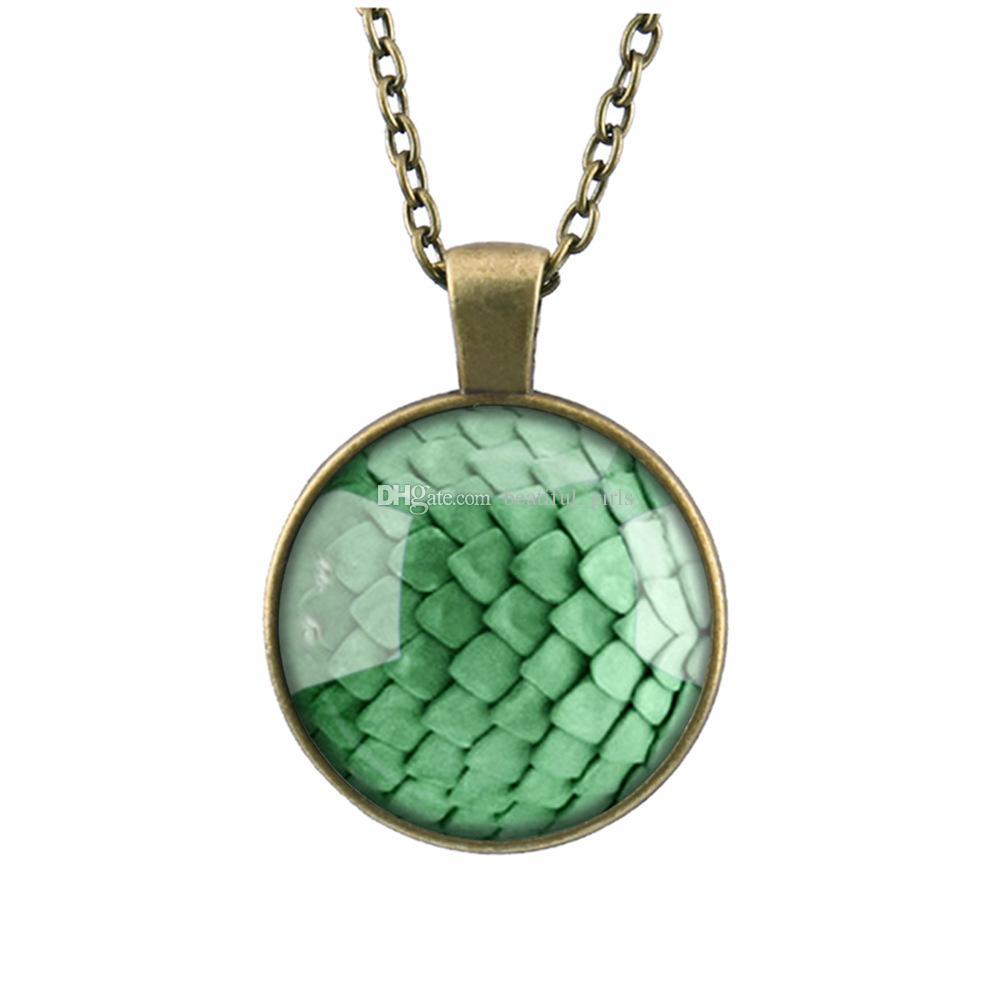 / Jeu de trônes vert dragon oeuf verre cabochon dôme pendentif collier Dragons temps de galaxie gem pendentif diy collier de bande dessinée