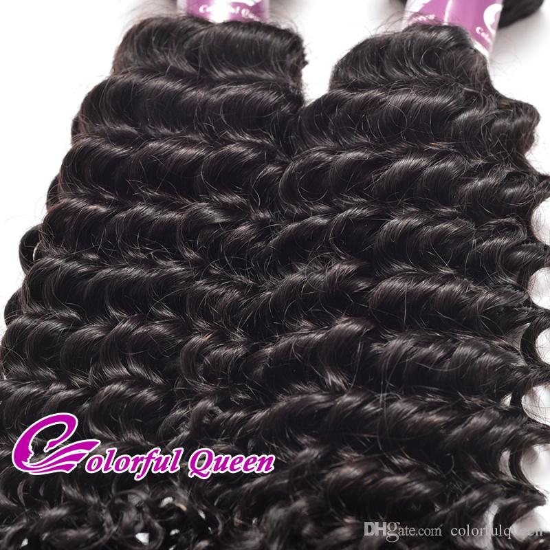 Colorful Queen Curly Indian Virgin Hair Deep Wave 7A Natural Raw Indian Human Hair Bundles Deep Curly Weave 400g8-26 Inch