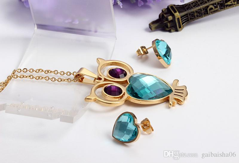 Кристалл животных Ювелирные изделия набор ювелирных изделий моды для женщин хрустальные каменные подвески и ювелирные изделия