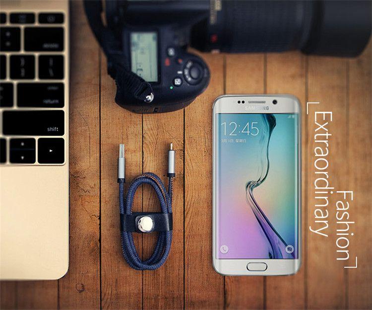 Micro USB-Kabel 5.9 FT Robustes Cowboy-Blau Geflochtener Furz Ladedatenkabel USB-Kabel für Android alle Smartphones S6 S7 Rand Sony HTC Huawei