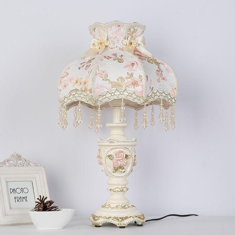 Art Classique Palais Modèle Chambre Résine Bureau Lampe Lumière Table Décoratif Décoration Chevet Princesse Tissu De 5jR4AL