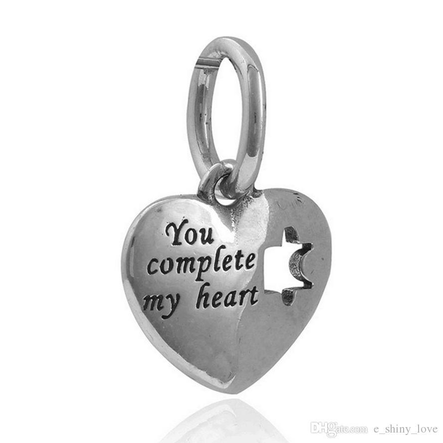 Commercio all'ingrosso 20 pz / lotto moda smalto rosa puzzle cuore lega di disegno in metallo ciondola fascini fai da te fit collana braccialetto europeo a basso prezzo
