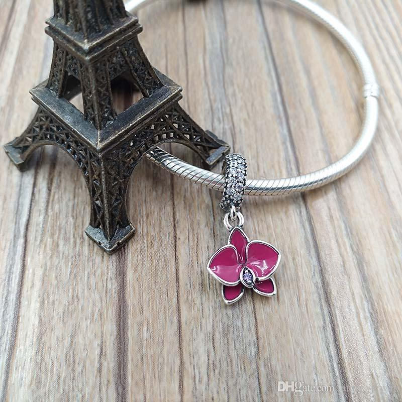 Spring 925 Silver Beads Orchid Silver Pendant Charm with enamel Fits European Pandora Style Jewelry Bracelets & Necklace 791554EN69