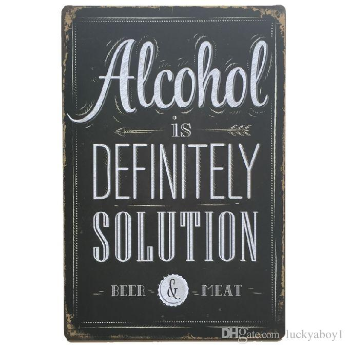 Alcohol Definitely Solution Retro rustic tin metal sign Wall Decor Vintage Tin Poster Cafe Shop Bar home decor
