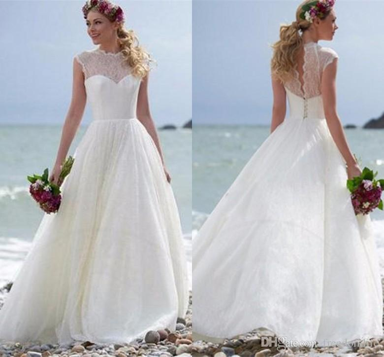 Discount Elegant Ivory Beach Wedding Dress A Line Cap Sleeve Country ...