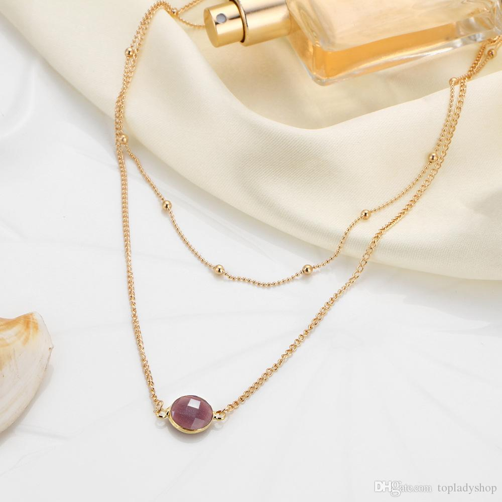 Short necklace foreign trade European and American necklace female natural stone glass inlaid double layer gem necklace
