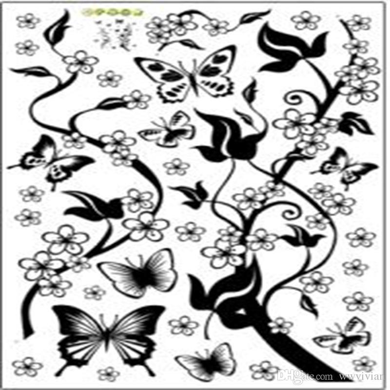 Fleurs noires Papillon Stickers Muraux TV Chambre Fond Murale Affiche Décor Arbre Branches Papier Peint Stickers Graphique Décoratif À La Maison