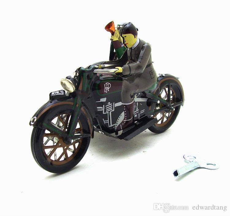 الكرتون لف-upTin Mototcycle، دراجة ثلاثية حديد، جميل حنين لعبة، أكسسوارات منزلية، كيد حزب هدايا عيد الميلاد، جمع، الديكور