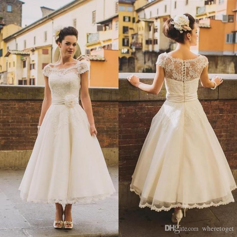 Simple Ankle Length Lace Wedding Dresses White Three: Discount 1950s Vintage Ankle Length Wedding Dresses Cap