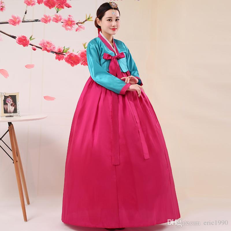 Manica lunga 2017 della giacca rosa delle gonne blu del rivestimento reale della foto La nazione coreana Tradition Pagaent Hanbok vestiti lunghi di prestazione della fase