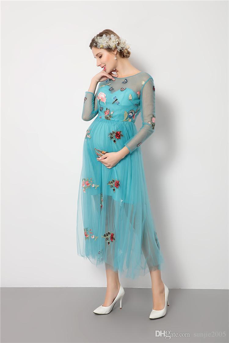 Compre Nuevos Vestidos De Maternidad De Maternidad Maxi Calientes Fotografía Apoya Vestidos De Gasa De Los Hombros Maxi Vestidos Embarazada Embarazo