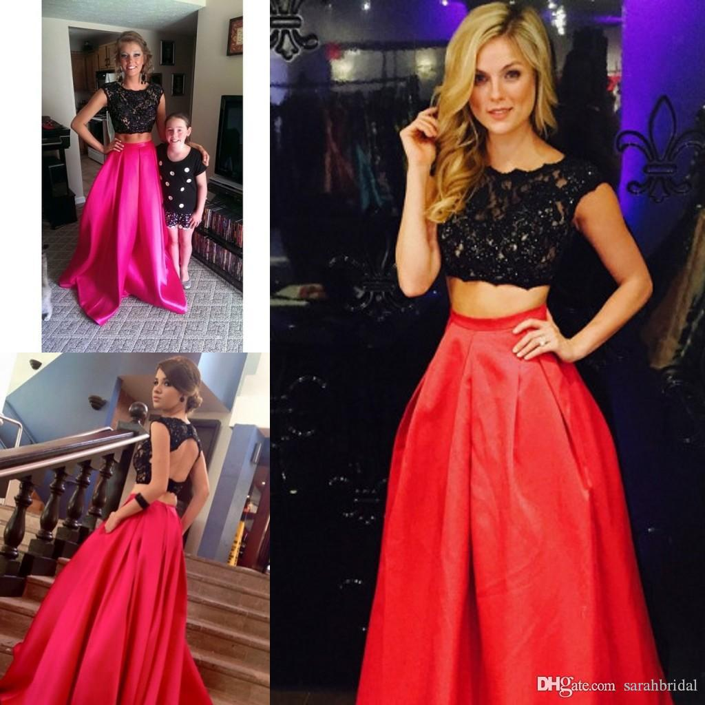 2019 Two Piece Long new Prom Dresses with Pockets Black Lace Crop special 12y Plus Size Customized 8th Grade Dance Teens Cheap Vestidos