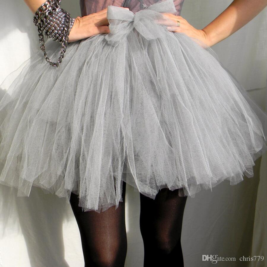 Estilo Lolita Luz Cinza curto Tule Saia Para As Mulheres Elastic cintura Mini Saia Tutu Inchado New Arrival cor e Tamanho personalizado