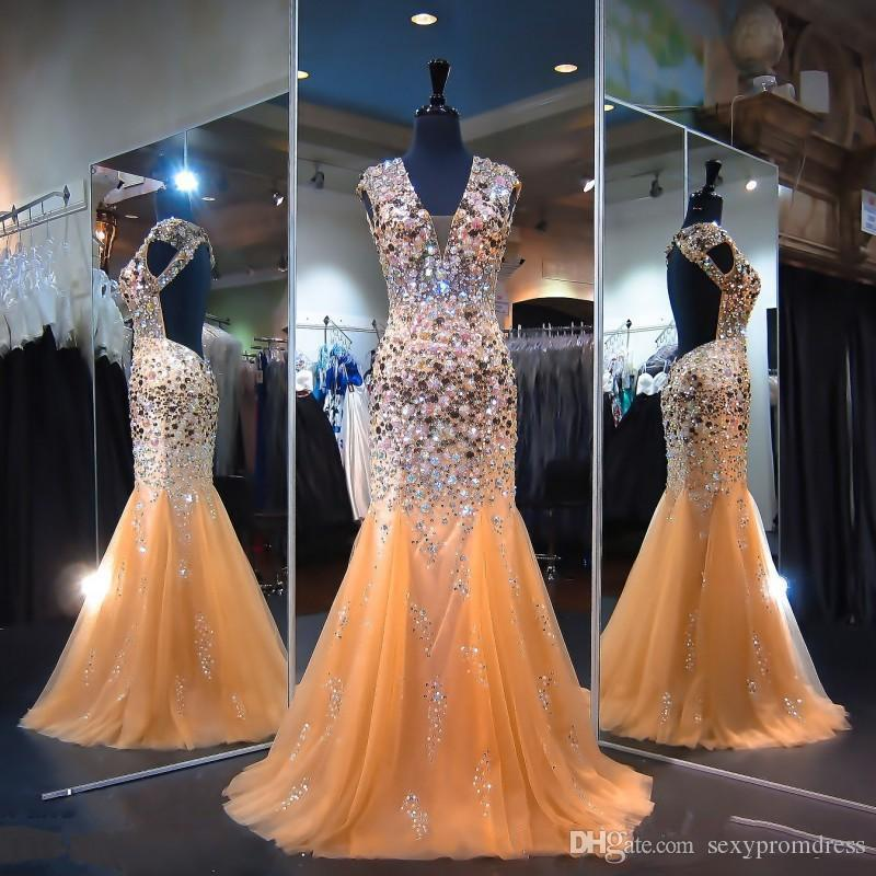 2c218a95e2a1 Shinning Heavy Beading Prom Dresses Sexy Open Back V Neck Crystals Beaded  Tulle Mermaid Evening Gowns Champagne Floor Length Formal Wear Mint Green  Prom ...