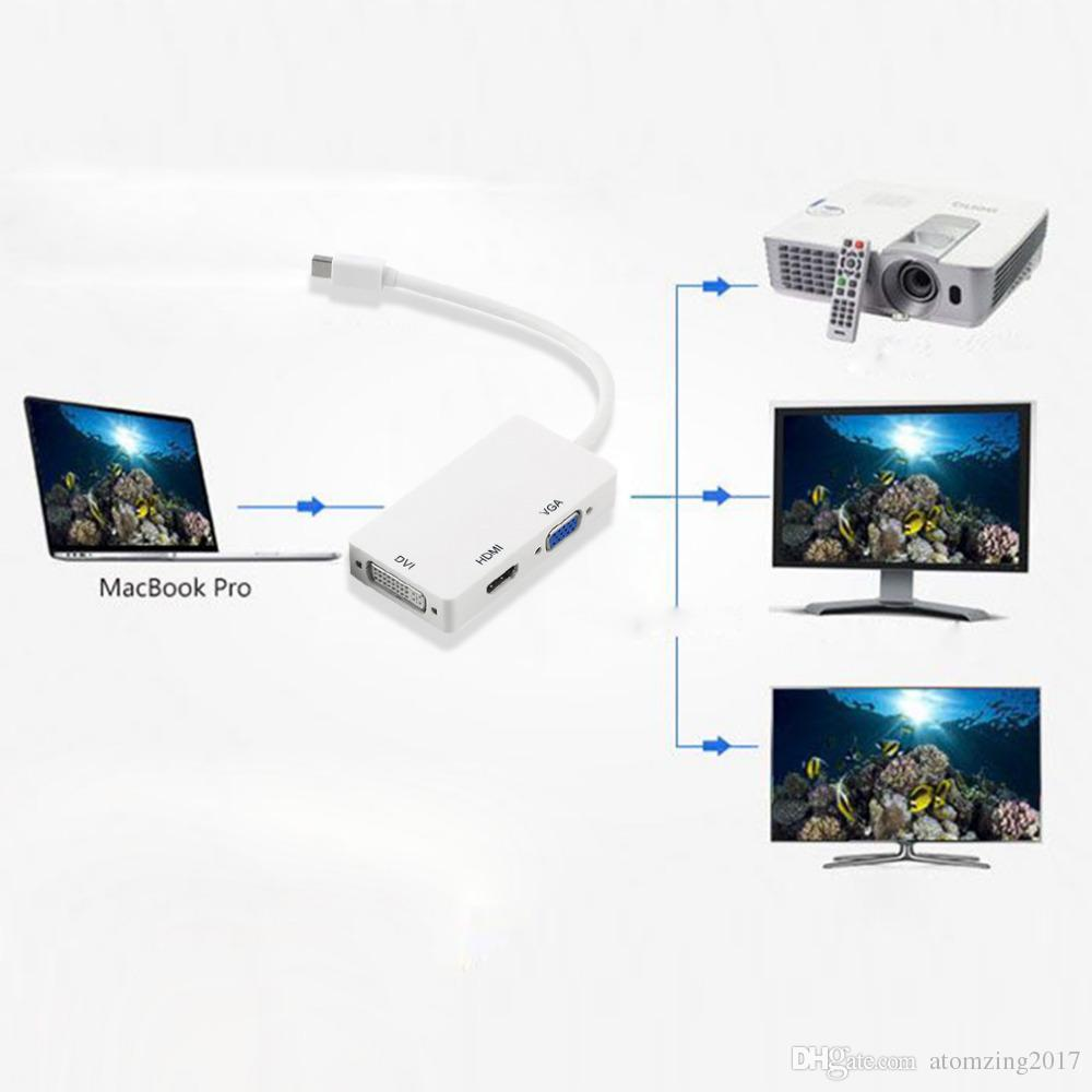 3 in 1 Thunderbolt Port Mini Displayport to HDMI DVI VGA Display Port Adapter Cable for Mac Macbook Air iMac Microsoft Surface Pro