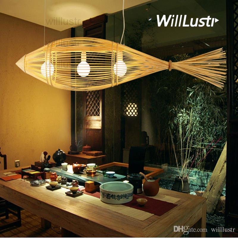 Grosshandel Willlustr Bambus Anhanger Lampe Grosse Fische Holz