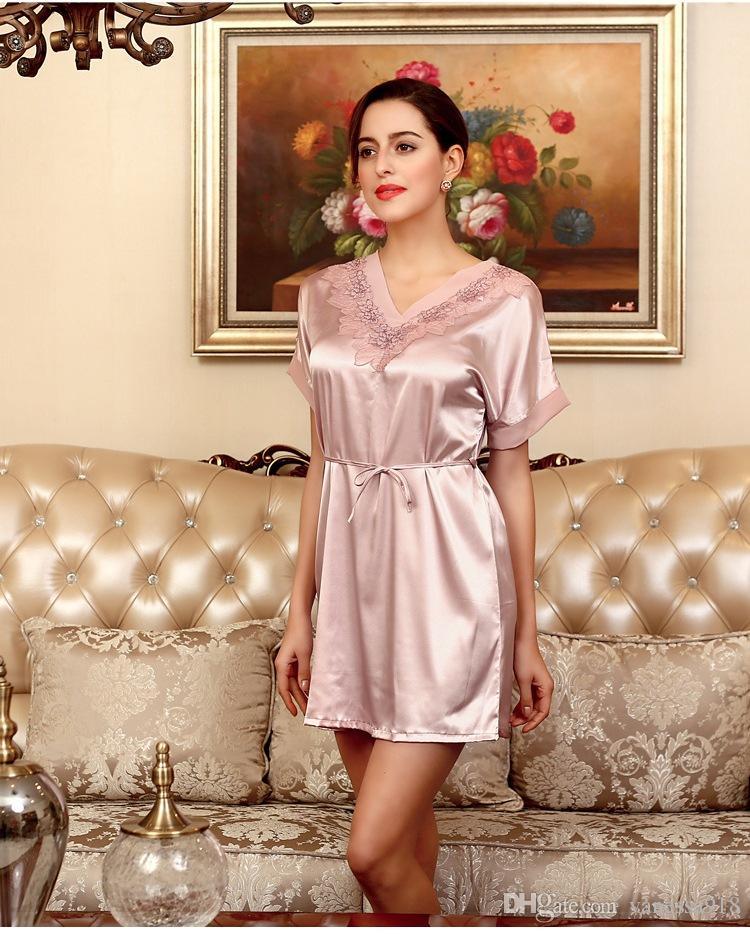 Nightdress Woman Sleepwear Silk Girls Nightgowns ...