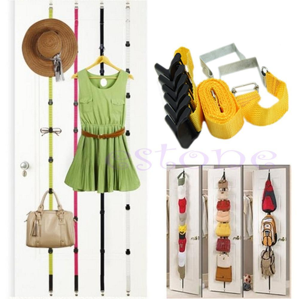Adjustable Overdoor Strap Hanger Hat Bag Clothes Coat Rack Home Organizer 7 Hooks Home Bathroom Bedroom Supply Robe Hooks