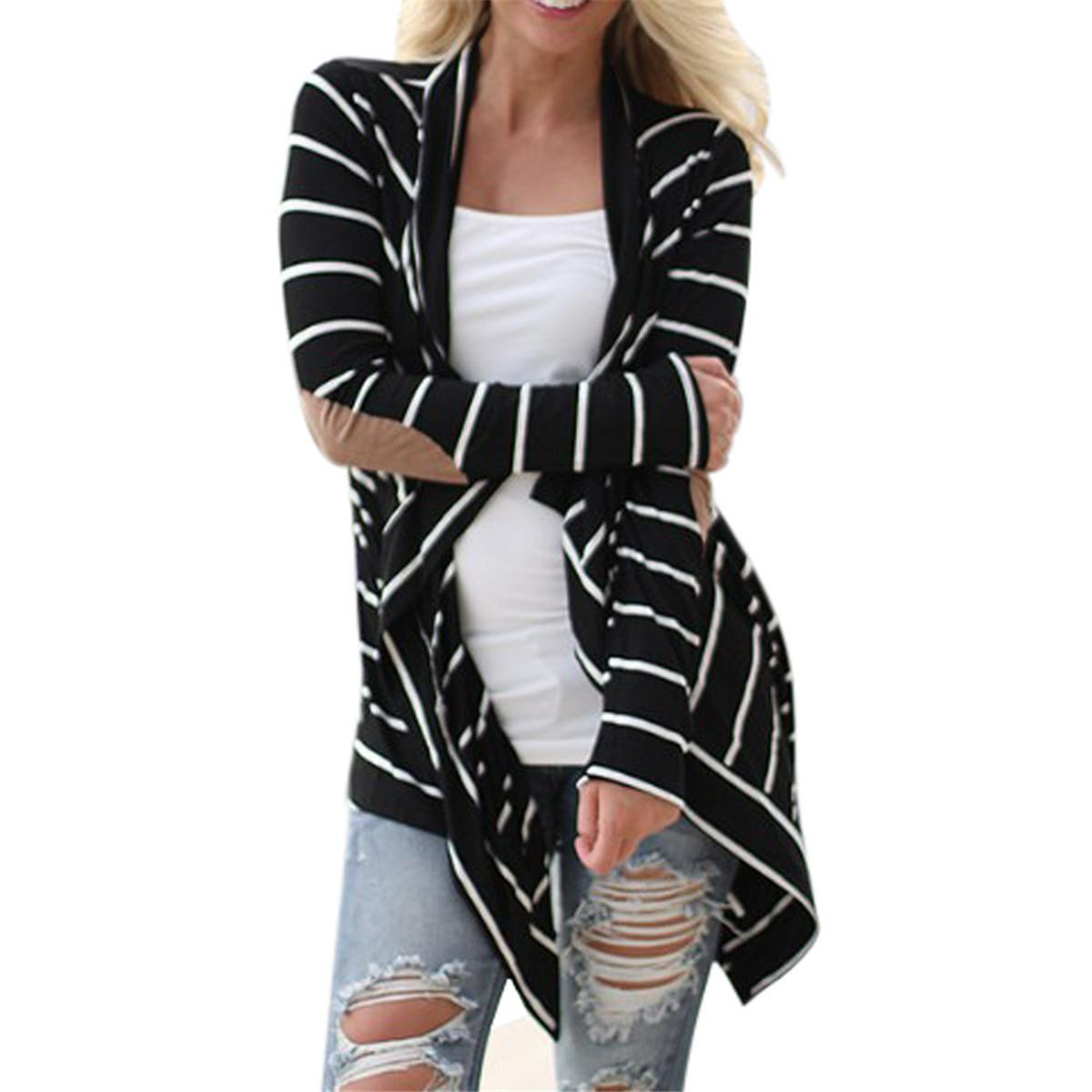 2018 Wholesale Casual Loose Striped Women Cardigan Coat 2016 New Plus Size  Elbow Patchwork Knitted Tops Sweater Thin Outwear Knitwear From Avive 587097f9e
