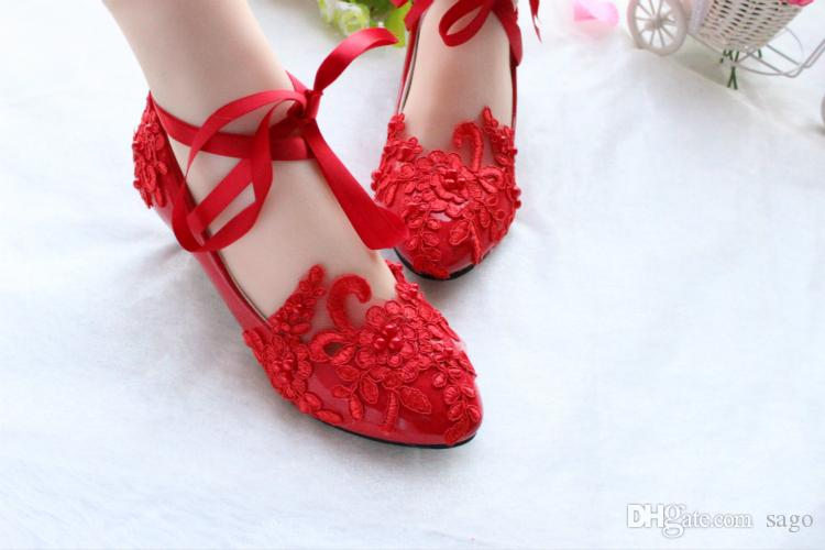 Ballet Ankle Tie Wedding Shoes Bridal Lace Flats Mid-Heel Pumps Bow Ribbon Bridesmaid Accessories Pearl Flower Embroidery Ballerina