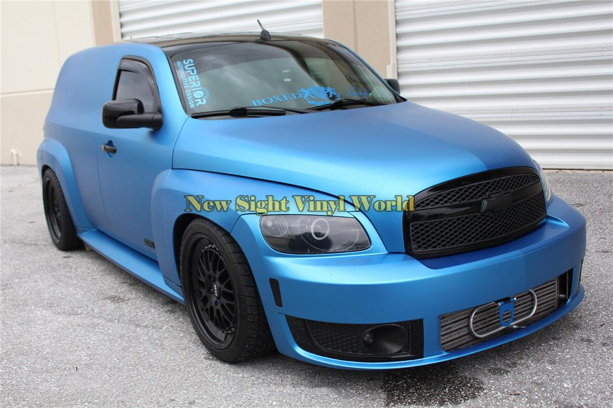 High Quality Crystal Blue Matte Metallic Satin Chrome Vinyl Car Wrapping Film Folie Bubble Free For Car Sticker