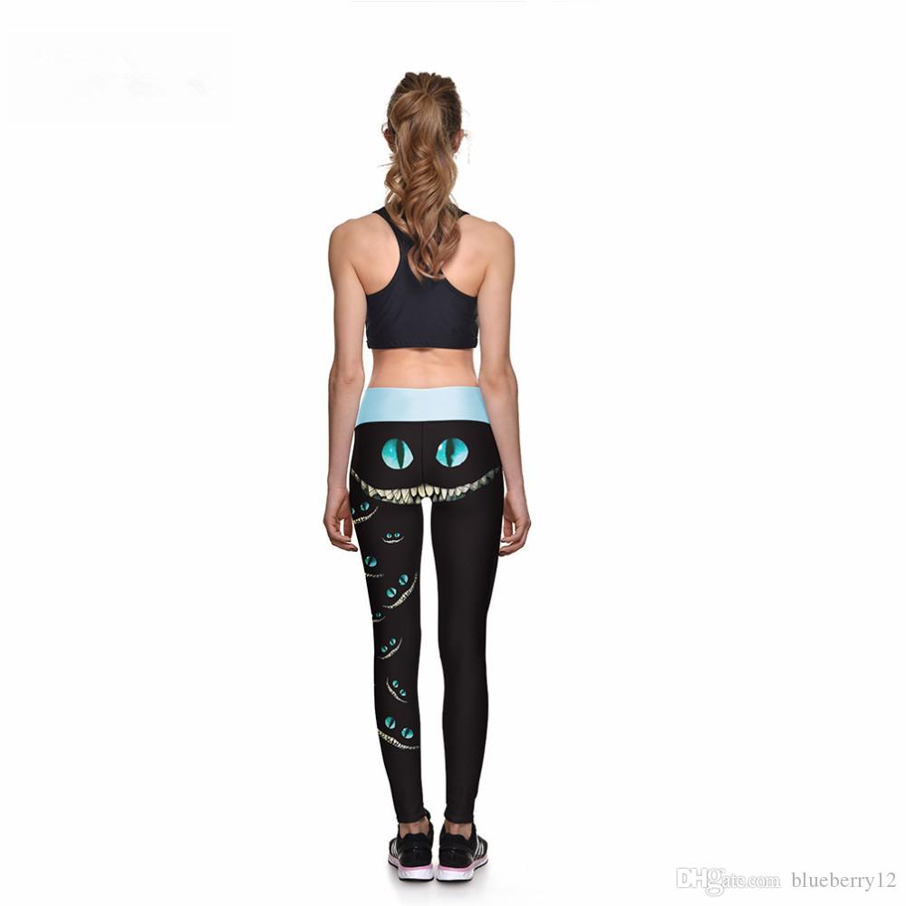 Black Leggings Sexy New Leggings Green-eyed  Face 3D Print Women High waist Pants Trousers Ropa Mujer