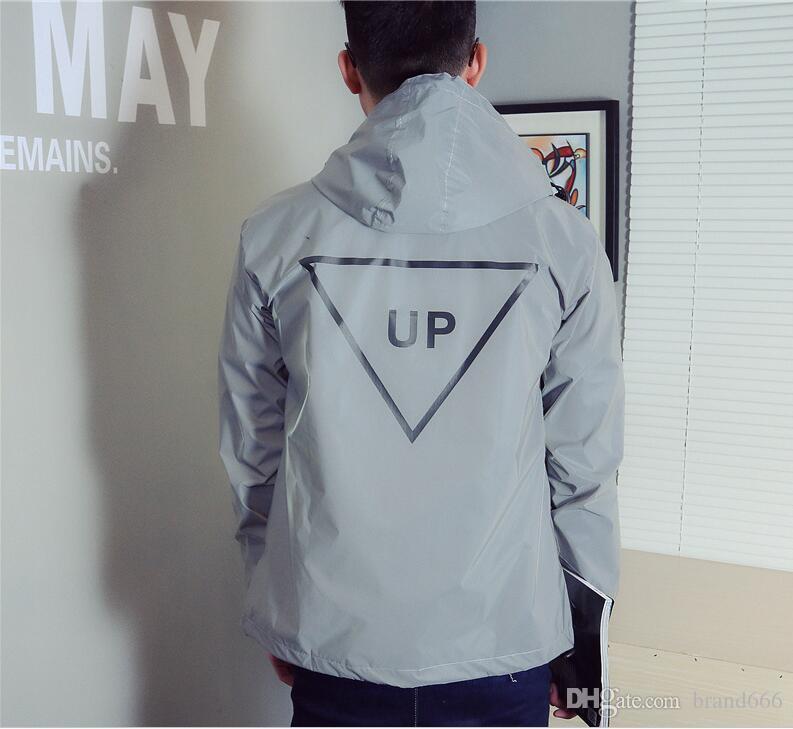 새로운 패션 남성 재킷 봄 가을 반사 3m 자켓 이동 힙합 방수 윈드 남성 코트 형광