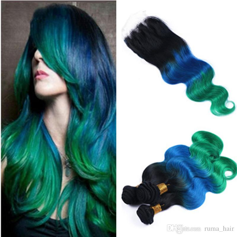 Ombre Hair Extensions With Lace Closure Human Virgin Hair Ombre