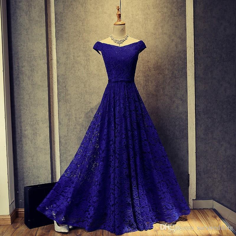 Abiti da sera in pizzo blu reale nuovi abiti da sera lunghi appliqued maniche corte abiti da ballo pizzo