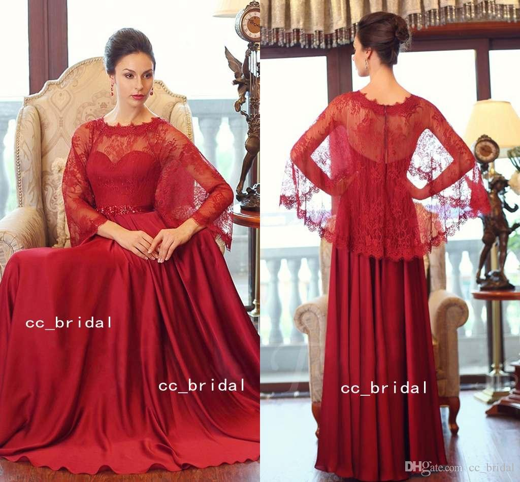 Dark Red Long Applique Lace Evening Dresses 2017 New Plus Size Prom ...
