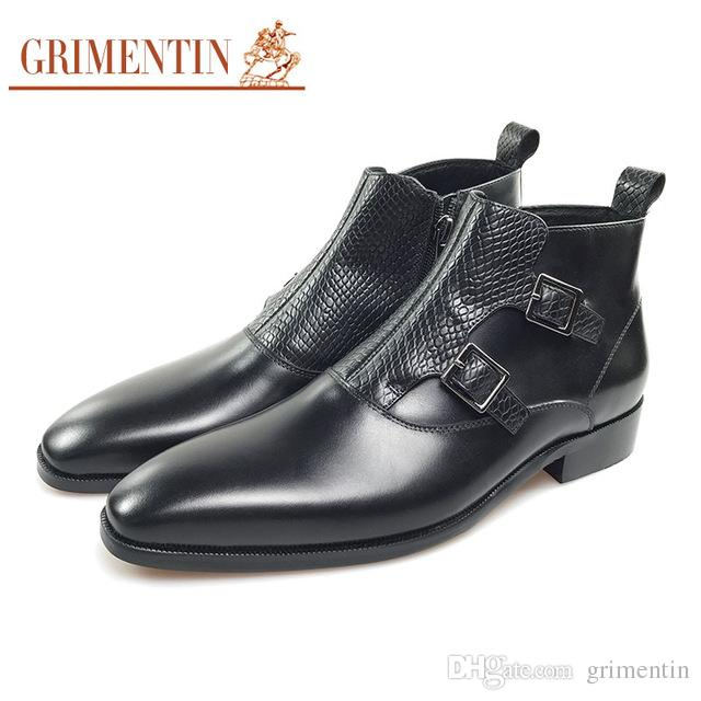 e90995929 GRIMENTIN Hot Sale Brand Mens Boots 100% Genuine Leather Black Brown Dress Male  Ankle Boots Pointed Toe Zip Formal Business Mens Shoes CG Chelsea Boots ...