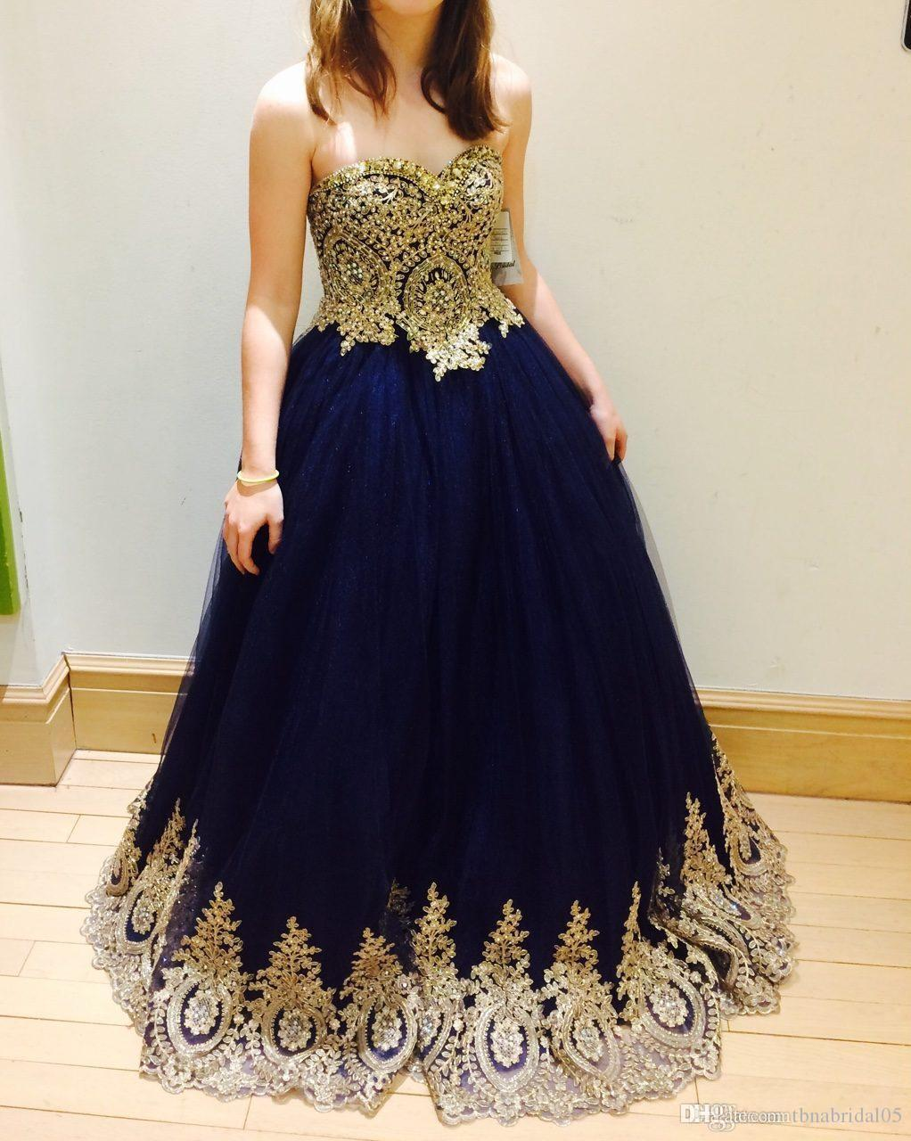 364b236fa Sweetheart Prom Dress Gold Appliques High Quality A Line Beaded Navy Blue Evening  Dress Ball Gown Party Gown Vestido De Festa Scala Prom Dresses Short Sexy  ...