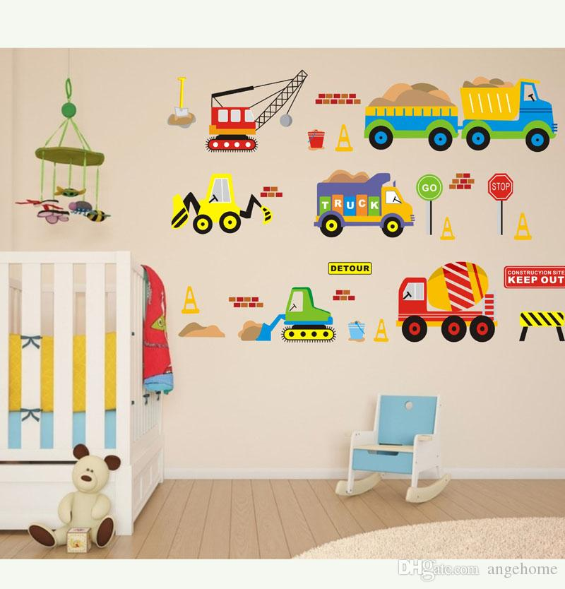 Cartoon Forklift Wall Stickers For Kids Rooms Children Wall Art ...