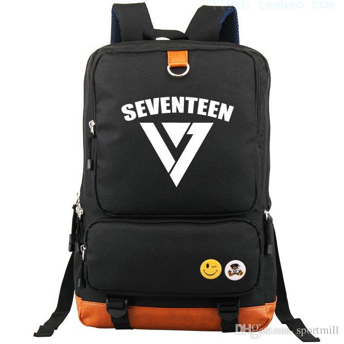 Men's Bags Backpacks Seventeen 17 Korean Stars Black Backpack Bag School Book Bags Laptop Boys Girls Back To School Gift Casual