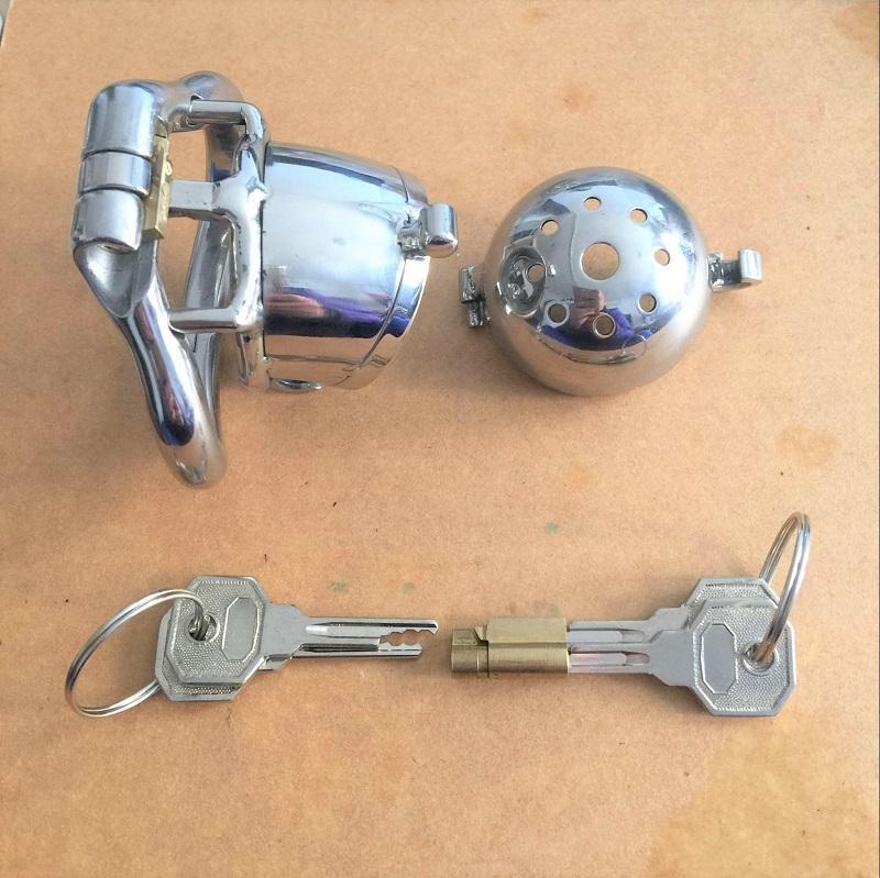 China Mais Novo Projeto de Bloqueio de Aço Inoxidável Cinto de Castidade Masculino Dispositivo de Castidade Metal Penis Bloqueio Chastity Gaiola Anel Sex Toys Para Homens