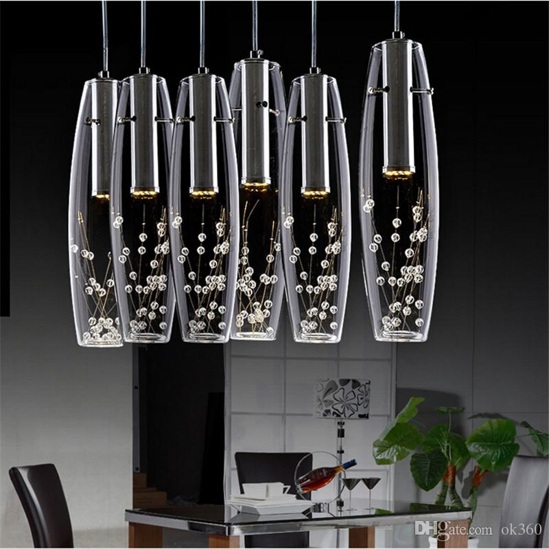Modern Luxury Led Dining Room Crystal Chandelier Glass Vase Bottles Light  Crystal Flowers Inside Bar Counter Restaurant Pendant Light Pendants Lights  ...