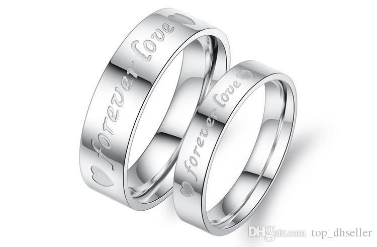 Free shopping couple rings pendants titanium steel engagement ring cheap jewelry for lovers Valentine day gift D051