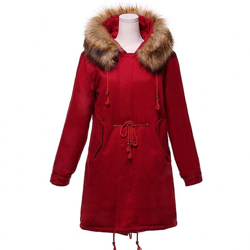 2018 женщин зимняя куртка поддельные меховой воротник куртка толстый снег носить пальто леди Одежда берберский флис Женские куртки девушки парки Бесплатная доставка