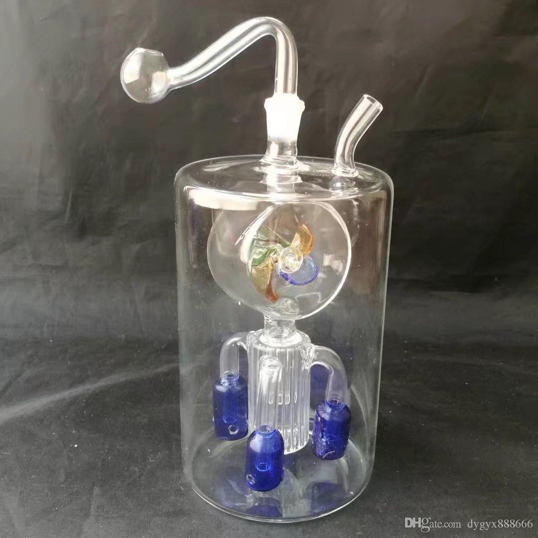 01 gros bangs de filtre à quatre rondes moulin à vent ventre, bongs de verre en gros, pipe à eau en verre, brûleur à huile de verre, adaptateur, bol