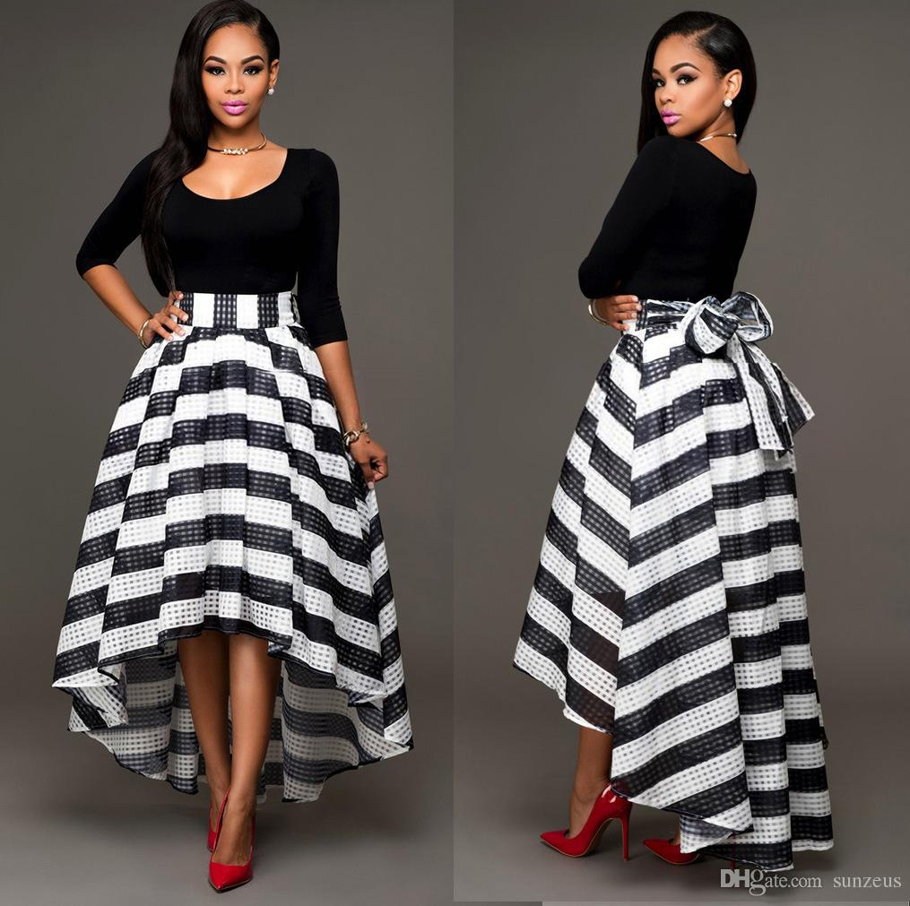 Women Black And White Dresses Ankle Length High Low Dress Two Piece ...