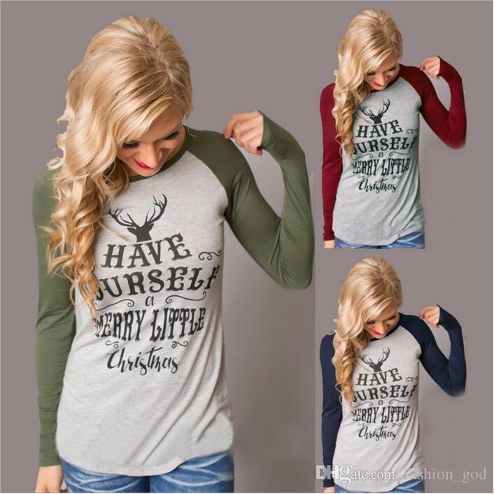 Großhandel Weihnachten T Shirt Frauen Weihnachten Elch Shirts ...